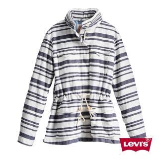 【Levis】女款雙色條紋抽繩長版外套