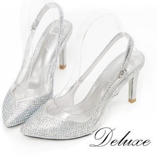 【Deluxe】全真皮透明拼接尖頭小水鑽高跟鞋(銀)