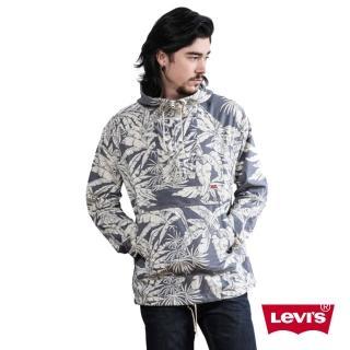 【Levis】男款印花連帽藍色薄夾克外套