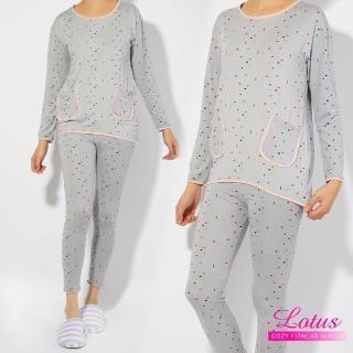 【LOTUS】涼感可愛幾何圖形睡衣套裝(灰色)