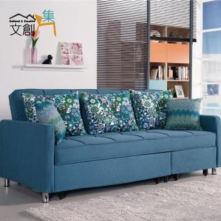 【文創集】薩也納 時尚三用亞麻布沙發/沙發床(拉合式機能設計)