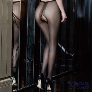 【久慕雅黛】超薄性感開檔絲襪褲(黑色)