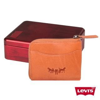 【Levis】淺咖啡色拉鍊皮夾