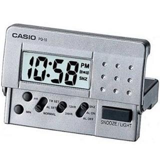 【CASIO 卡西歐】輕便數位電子鬧鐘(銀灰-PQ-10D-8RDF)