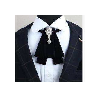 【拉福】閃鑽賽亞絨布領結新郎結婚領結糾糾(黑色)