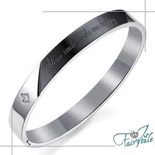 【伊飾童話】快樂泉源*鑲鑽鈦鋼手環/男