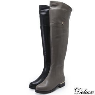 【Deluxe】全真皮格菱紋金屬扣飾流行膝上靴(黑、芋)