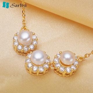 【Sarlisi】經典優雅晶鑽珍珠項鍊(金色、銀色、玫瑰金)