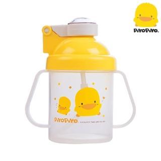 【黃色小鴨PiyoPiyo】彈跳吸管練習杯-透明蓋(250ml)