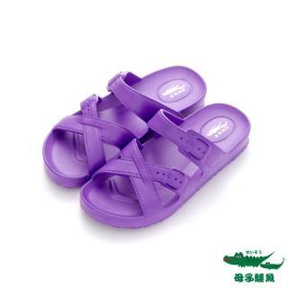【母子鱷魚】MIT氣墊拖鞋-紫