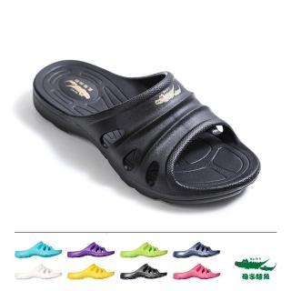 【母子鱷魚】羽感軟Q拖鞋-黑(MIT)