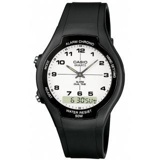 【CASIO】商務型酷炫雙顯指針錶(AW-90H-7B)