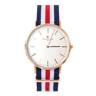 【范倫鐵諾˙古柏】瑰金刻度帆布手錶對錶腕錶 中性款男女皆可