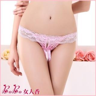 【BoBo女人香】蕾絲花邊私密按摩珍珠蝴蝶結情趣內褲-低腰丁字褲-N2115-6(櫻花粉)