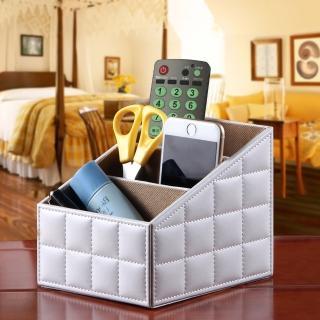 【幸福揚邑】精品歐式方格紋皮革遙控器化妝品飾品三格桌面收納盒(經典白)