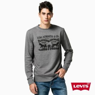【Levis】男款深灰LOGO印花長袖T恤
