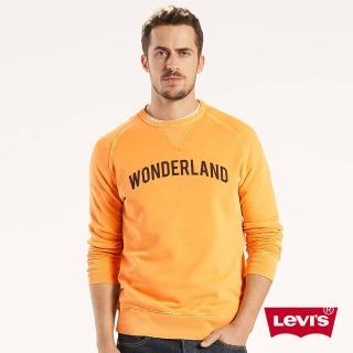 【Levis】男款奶油黃LOGO印花長袖T恤