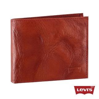 【Levis】男款Logo壓紋咖啡紅色真皮皮夾
