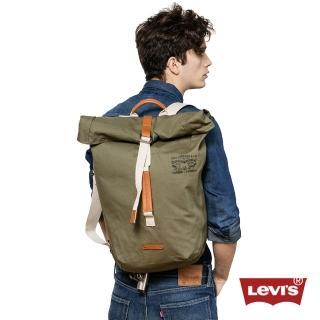 【Levis】男款經典雙馬車標誌印花橄欖綠後背包