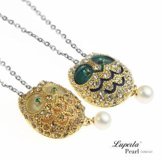 【大東山珠寶】童話森林 奢華滿鑽貓頭鷹珍珠項鍊(時尚珍珠)