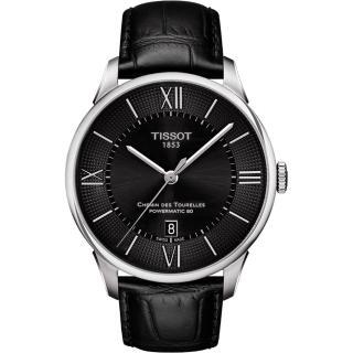 【TISSOT】杜魯爾系列機械動力80腕錶-黑/42mm(T0994071605800)