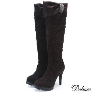 【Deluxe】真皮秋冬彈力布水鑽葉兩穿式長靴(黑★豹)
