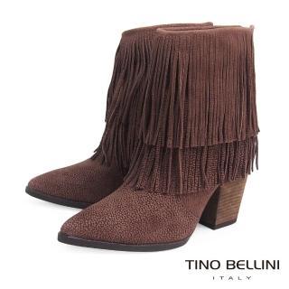 【Tino Bellini】巴西絕美雙層流蘇高跟短靴VI1206(深駝)