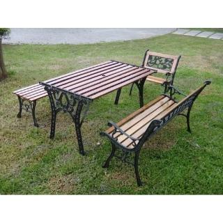 【BROTHER兄弟牌】雙人鑄鐵公園椅附椅背+鑄鐵公園桌+無背公園椅+鑄鐵單人椅(兄弟牌公園椅)