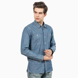【Levis】男款藍色水洗牛仔襯衫