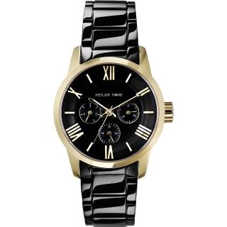 【RELAX TIME】RT65 羅馬情人日曆腕錶-金框x黑/38mm(RT-65-3L)