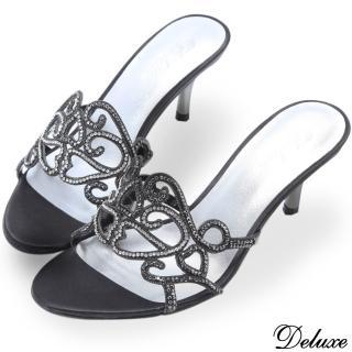【Deluxe】全真皮奢華圖騰感水鑽低跟涼鞋(黑)
