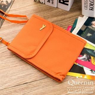 【DF Queenin】韓版隨身旅行斜背式護照包證件包(共4色)