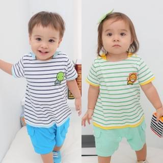 【baby童衣】連身衣 假兩件條紋亮眼寶寶爬服61034(共2色)
