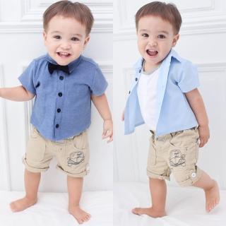 【baby童衣】領結襯衫款連體衣爬服 60131(共2色)