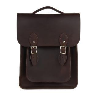 【The Leather Satchel Co.】英國手工牛皮經典後揹包 手提包(原色深咖啡)