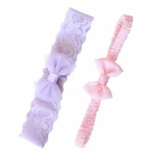【美國 Joli Sophie】蕾絲+雪紡彈性嬰兒髮帶2入組 - 淺紫粉紅(JSHBLBLP0)