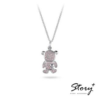 【STORY ACCESSORY】微鑲系列-癡情小熊純銀項鍊(小熊 粉鑽 純銀項鍊)