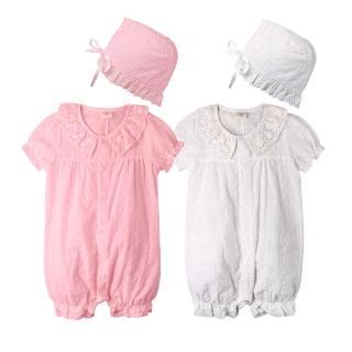 【baby童衣】貴族氣質蕾絲連身衣加公主帽 61027(共2色)