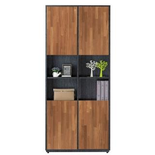 【AT HOME】布拉格2.7尺柚木四門中空書櫃