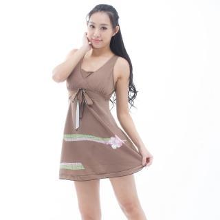 【BICH LOAN】泡湯/SPA專用大尺碼連身裙泳裝(附泳帽C98203)