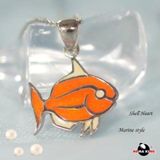【HEMAKING】純銀天然貝殼小魚項鍊-橘(貝殼.純銀)