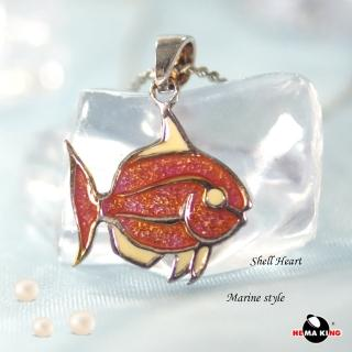 【HEMAKING】純銀天然貝殼小魚項鍊-紅(貝殼.純銀)