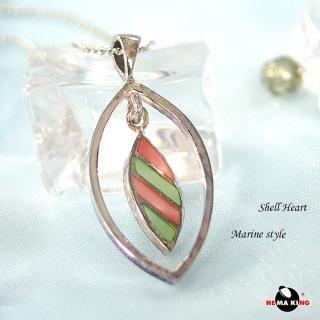 【HEMAKING】純銀天然彩貝殼項鍊-綠(貝殼.純銀)