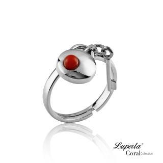 【大東山珠寶】誓約同心全紅珊瑚純銀戒指(天然全紅沙丁珊瑚)