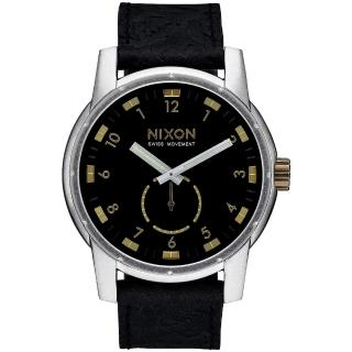 【NIXON】PATRIOT LEATHER 獨領風騷復古時尚腕錶-金X黑(A9382222)