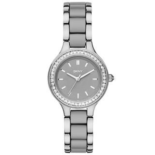 【DKNY】蝶戀尤物晶鑽陶瓷腕錶-銀x雙材質錶帶(NY2466)