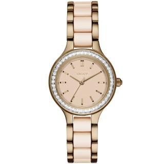 【DKNY】DKNY 蝶戀尤物晶鑽陶瓷腕錶-膚x雙材質錶帶(NY2467)
