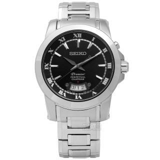 ~SEIKO 精工~典藏品味羅馬萬年曆不鏽鋼腕錶 黑色 41mm^(6A32~00X0B.