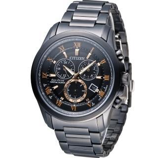 【星辰 CITIZEN】光動能雙時區萬年曆限定腕錶(BL5545-50E 黑)