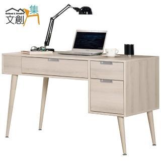 【文創集】芝加哥 木紋4尺三抽書桌/電腦桌